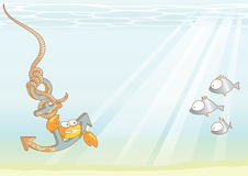 Sea travels. Vector illustration with fun crab travels by anchor Royalty Free Stock Photo