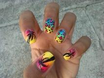 Sea tree nail art. Summer nails wowo Stock Images