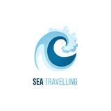 Sea trevelling logo template with wave Royalty Free Stock Images