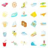 Sea trip icons set, cartoon style. Sea trip icons set. Cartoon set of 25 sea trip vector icons for web isolated on white background Royalty Free Stock Photos