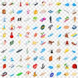 100 sea trip icons set, isometric 3d style Stock Photos