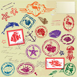 Sea and tropical elements - rubber stamps Royalty Free Stock Image