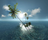 Sea, tropical island, palm , sun 3D illustration Stock Image