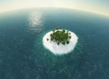 Sea, tropical island, palm , sun 3D illustration Royalty Free Stock Photos