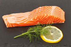 Sea trout on slate Stock Photos