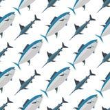 Sea tuna fish animal nature food seamless pattern ecology shark environment tropical natural thunnus vector illustration. Sea tuna fish animal nature food Stock Photography