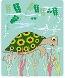 Sea turtle. Cartoon of a turtle in the water Stock Photo