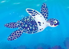 Sea turtle. Illustration of a sea loggerhead turtle swimming over a coral reef Royalty Free Stock Images