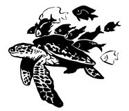 Sea turtle. black-and-white. Sea turtle with a little fishes around. black-and-white vector illustration