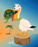 Sea Turtle Choking a Pelican. Vector illustration of a sea turtle choking a pelican Royalty Free Stock Photos