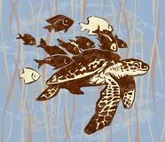 Sea turtle color. Sea turtle with a little fishes around. black-and-white, color Royalty Free Stock Images