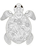 Sea turtle coloring vector for adults stock illustration