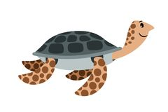 Sea turtle cute cartoon animal. Icon, isolated on white background, vector illustration Stock Image