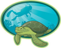 Sea Turtle and Diver. Illustration of a Sea Turtle swimming near a coral reef and a scuba diver in the background Royalty Free Stock Images