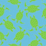 Sea turtle icon. Seamless pattern with green turtle turquoise on a blue background. EPS 10 Vector illustration royalty free illustration
