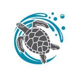 Sea turtle icon. With water wave royalty free illustration