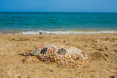 Sea turtle made of sand on the beach, Adriatic Seacoast view. Stock Photos