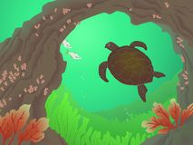 Sea Turtle Paradise. Green turtle swimming underwater with fish, tube coral and seafans Stock Illustration