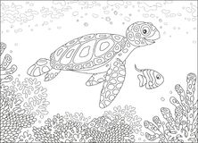 Sea turtle on a reef. Funny loggerhead and a small butterfly fish swimming over corals on a reef in a tropical sea, black and white vector illustration in a Stock Photos
