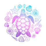 Sea turtle and shells in line art style. Hand drawn vector illustration. Design for coloring book. Set of ocean elements. Sea turtle and shells in line art style stock illustration