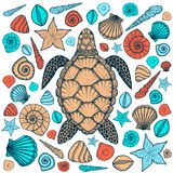 Sea turtle and shells in line art style. Hand drawn vector illustration Royalty Free Stock Photography