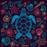Sea turtle and shells in line art style. Hand drawn vector illustration. Top view. Design for coloring book. Set of ocean elements stock illustration