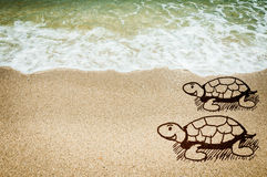 Sea turtle sketching of concept. On the beach stock illustration