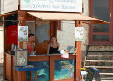 Sea turtle supporters. CHANIA, CRETE - July 1, 2010. Volunteers staff the Chania kiosk raising awareness for the Greek sea-turtle preservation group, Arkelon Stock Photo