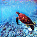 Sea turtle swimming underwater. Bright digital illustration of tropical nature. Exotic wild animal in natural environment. Ocean ecosystem image. Snorkeling royalty free illustration