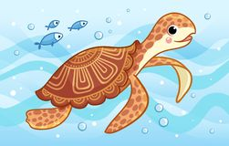 The sea turtle swims along the sea among fish and waves. royalty free illustration