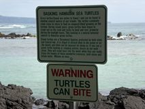 Sea Turtle Warning Sign Stock Photos