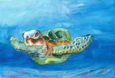 Sea turtle watercolor. Watercolor seascape. vector illustration