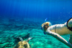 Sea turtle. A young woman snorkeler swims with sea turtle Caretta in green and turquoise waters of the famous Foneas Beach, Kardamili in Mani peninsula Stock Photo