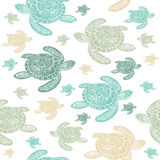 Sea Turtles colourful seamless  pattern. Realistic engraved style of Sea Turtles on white background Stock Photo