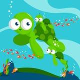 Sea turtles vector illustration