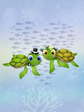 Sea turtles in in the ocean Royalty Free Stock Photo