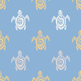 Sea Turtles.  Seamless Vector pattern. Royalty Free Stock Photos