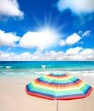 Sea and umbrella Stock Photo