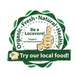 Sea un locavore - sello imprimible para el negocio local de la comida Fotografía de archivo