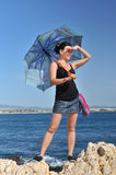 At sea, under the umbrella Royalty Free Stock Image