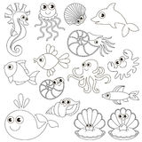 Sea underwater animals set, the big page to be colored, simple education game for kids. Stock Photography