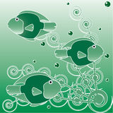 Sea underwater green world - fishes and algae. Royalty Free Stock Images