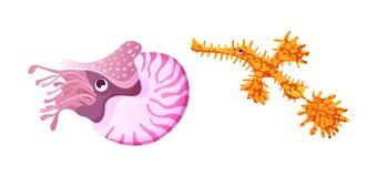 Aquarium cartoon algae cockroach, clam ocean sea animals for games. Sea underwater life. Aquarium cartoon algae cockroach, clam ocean sea animals for games stock illustration
