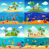 Sea Underwater Life Backgrounds Set. With fishes seahorse jellyfish starfish shells crab seaweed on tropical island landscape vector illustration Stock Photography