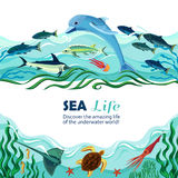 Sea Underwater Life Cartoon Illustration. Cartoon vector illustration of sea life with exotic underwater inhabitants and shoal of fishes in marine waves Royalty Free Stock Photo