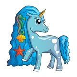 Sea unicorn. Cute cartoon vector unicorn clipart einhorn, little horse, pony. This little sea unicorn with its magical beauty is able to please the children of Stock Images