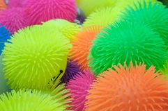 Sea Urchin Balls. A pile of toy spiky sea urchin balls, waiting to be played with Stock Photo
