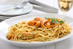 Sea urchin pasta Stock Photos