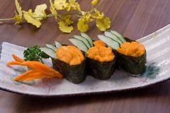 Sea urchin sushi. Oyster Seafood Prepared Oysters Freshness rice sea-urchin stock photo
