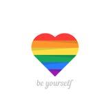 Sea usted mismo con el corazón iridiscente Foto de archivo